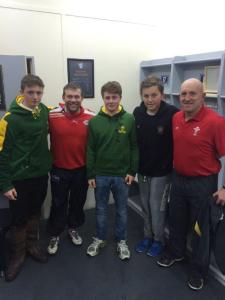 Shaun Edwards and Bobbie Goulding with Charlie, Ross and Will Wood from Caldy RUFC (low res)