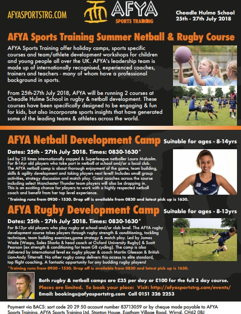 AFYA Sports Launch Rugby & Netball Development Camps At